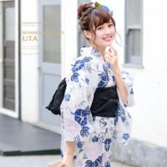 即納!【bonheur saisonsの浴衣3点セット】白/ホワイト/朝顔/桜/花/ラメ/綿/浴衣セット/ボヌールセゾン