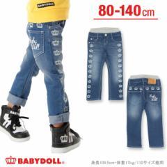 9/15NEW♪王冠デニムロングパンツ-ベビーサイズ キッズ ベビードール 子供服-9903K