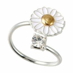 白いお花とクリアストーンのフリーリング