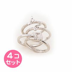 銀色/音符モチーフリング4個セット/16号