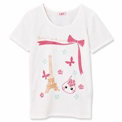 【32%OFF】ピンク/エッフェル塔&バラ柄ほっぺちゃんTシャツ/130cm