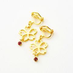 金色/一粒石&桜モチーフのゆれるイヤリング