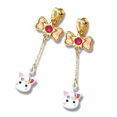 金色/月のせネコ耳ほっぺちゃんのイヤリング
