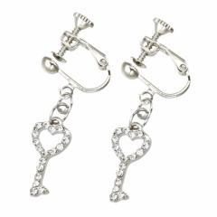 銀色/石付きハート型鍵イヤリング