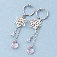 ピンク石付き雪の結晶じゃらフープイヤリング