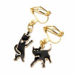金色/アシンメトリーデザインの黒ネコがゆれるイヤリング