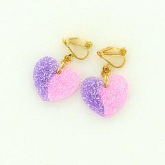 桃&紫/グラデーションハートのイヤリング