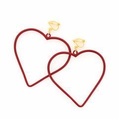 赤/大きめフレームハートのイヤリング