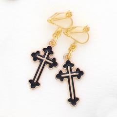 金ふちつき十字架イヤリング