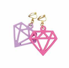 紫&ピンク/大きめダイヤモチーフイヤリング