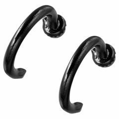 黒/C型フープマグネットピアス(両耳用)