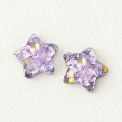 紫/ホログラムラメ入り星のマグネットピアス