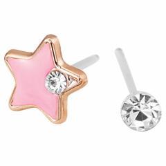 星&クリアストーンの左右違い樹脂ポストピアス(両耳用)