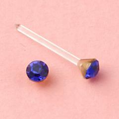 ブルー/3mmストーン樹脂ピアス