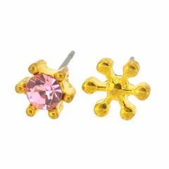 金/ピンクの一粒ストーン&雪の結晶ピアス