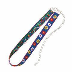 青/お花の刺繍チョーカー