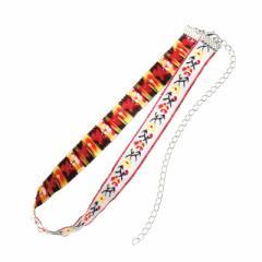 白/お花の刺繍チョーカー
