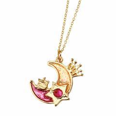金色/紫桃グラデほっぺちゃん乗り月ネックレス