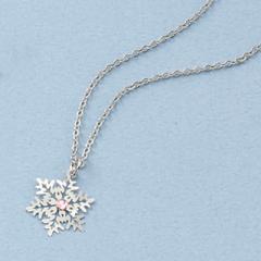 ピンクストーン付き雪の結晶ネックレス