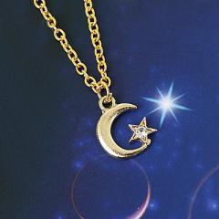 金色/ストーン付き月と星のネックレス