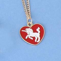 赤/ハート型ユニコーンデザインのネックレス