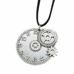 銀色/時計モチーフ歯車デザインネックレス