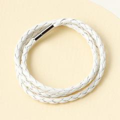 白/シンプル合皮編みブレスレット