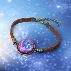 青&紫系/宇宙風丸型ブレスレット