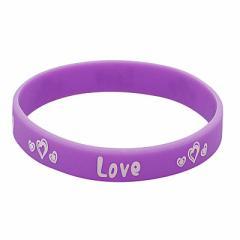 紫/Love文字入りラバーブレスレット