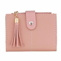 ピンク/タッセル付き二つ折り財布