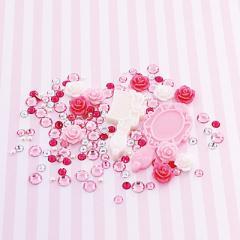 ピンク系/バラ入りデコパーツセット
