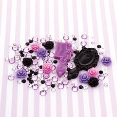 黒&紫系/バラ入りデコパーツセット