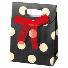 ☆秋の売り尽くしセール☆【70%OFF】ブラック/リボンつき大きめドット柄ラッピングバッグ