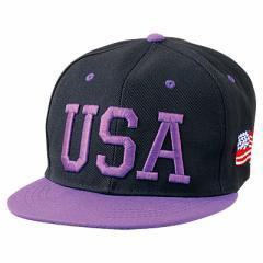 紫USAロゴ入り黒キャップ