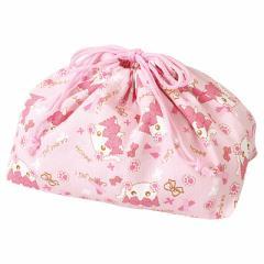 ピンクもこもこネコ耳ほっぺちゃん柄お弁当きんちゃく袋