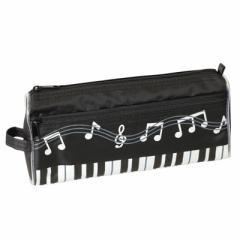 黒/鍵盤と音符柄ポケットつきペンポーチ