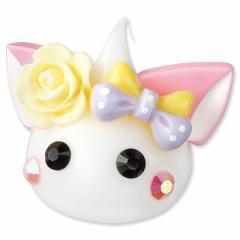 ネコ耳/黄色バラ&リボンつき白ほっぺちゃんオブジェ