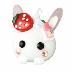 ホワイト/苺&リボンの手つきウサ耳ほっぺちゃんオブ