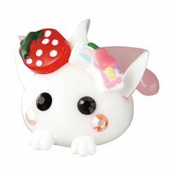 ホワイト/苺&リボンの手つきネコ耳ほっぺちゃんオブ