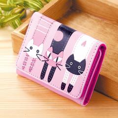 桃色/ネコぶらさがりデザイン三つ折り財布