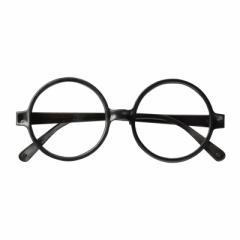 ブラック/レンズなし丸型フレームだてメガネ