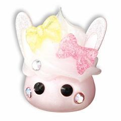 桃/ラメ白ホイップのせウサ耳ほっぺちゃんオブジェ