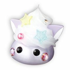 紫/ラメ白ホイップネコ耳デカほっぺちゃんオブジェ