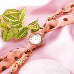 ピンク/ドット柄スカーフタイプ腕時計
