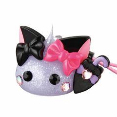 ラメ紫/傘もちリボンネコ耳ほっぺちゃんストラップ