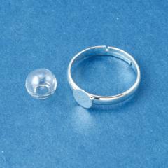 銀色/極小ガラスドームとリングのセット