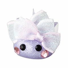 ラメ紫/リボン付ネコ耳デカほっぺちゃんオブジェ