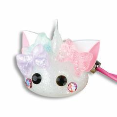 ラメ白/リボン付ネコ耳ほっぺちゃんストラップ