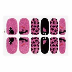 ピンクと黒の猫柄ネイルシール