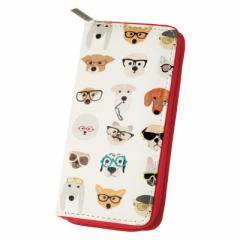 白/めがねをかけた犬柄の長財布